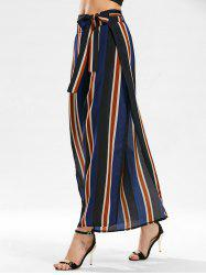 Stripe Side Slit Zippered Wide Leg Pants
