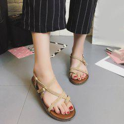 Toe Ring Flat Heel Faux Leather Sandals