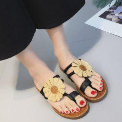 Flower Toe Ring Flat Heel Slippers - BLACK