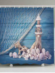 Fishing Net Lighthouse Conch Nautical Shower Curtain