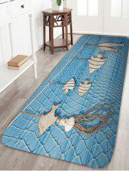 Fishing Net Wood Fish Print Skidproof Bath Rug