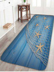 Starfish Fishing Net Wood Grain Bath Rug