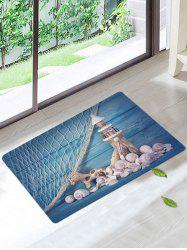 Lighthouse Conch Fishing Net Nonslip Rug - BLUE