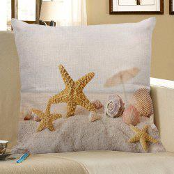 Home Decor Starfish Conch Print Pillow Case - GINGER