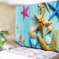 Wall Hanging Wood Grain Beach Starfish Tapestry