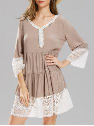 Long Sleeve Lace Panel Smock Dress -