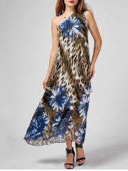 Floral Leopard Print One Shoulder Maxi Dress