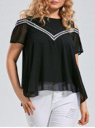 Plus Size Open Shoulder Chiffon Ruffle Top