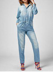 Drawstring Denim Long Sleeve Jumpsuit