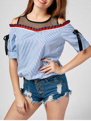 Fishnet Insert Ruffled Cold Shoulder Striped Blouse
