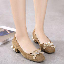 Faux Pearl Bowknot Pumps
