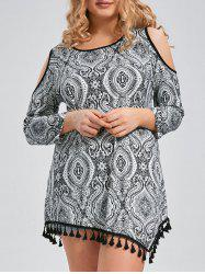 Tribal Tassel Trim Open Shoulder Plus Size Long Sleeve T-shirt