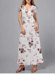 Short Sleeve Floral Maxi Surplice Dress - FLORAL