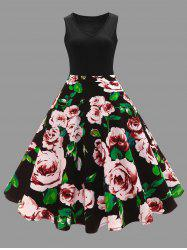 Plus Size Floral Printed Vintage Midi Flare Dress - BLACK