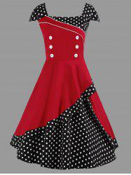 A Line Polka Dot Vintage Plus Size Dress