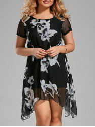 Floral Paint Plus Size Asymmetric Chffion Dress