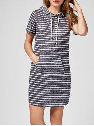 Kangaroo Pocket Hooded Striped Mini Dress - BLACK STRIPE
