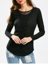 Casual Scoop Neck Hollow Out Crochet Spliced Solid Color T-Shirt For Women