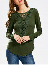 Casual Scoop Neck Hollow Out Crochet Spliced Solid Color T-Shirt For Women - ARMY GREEN
