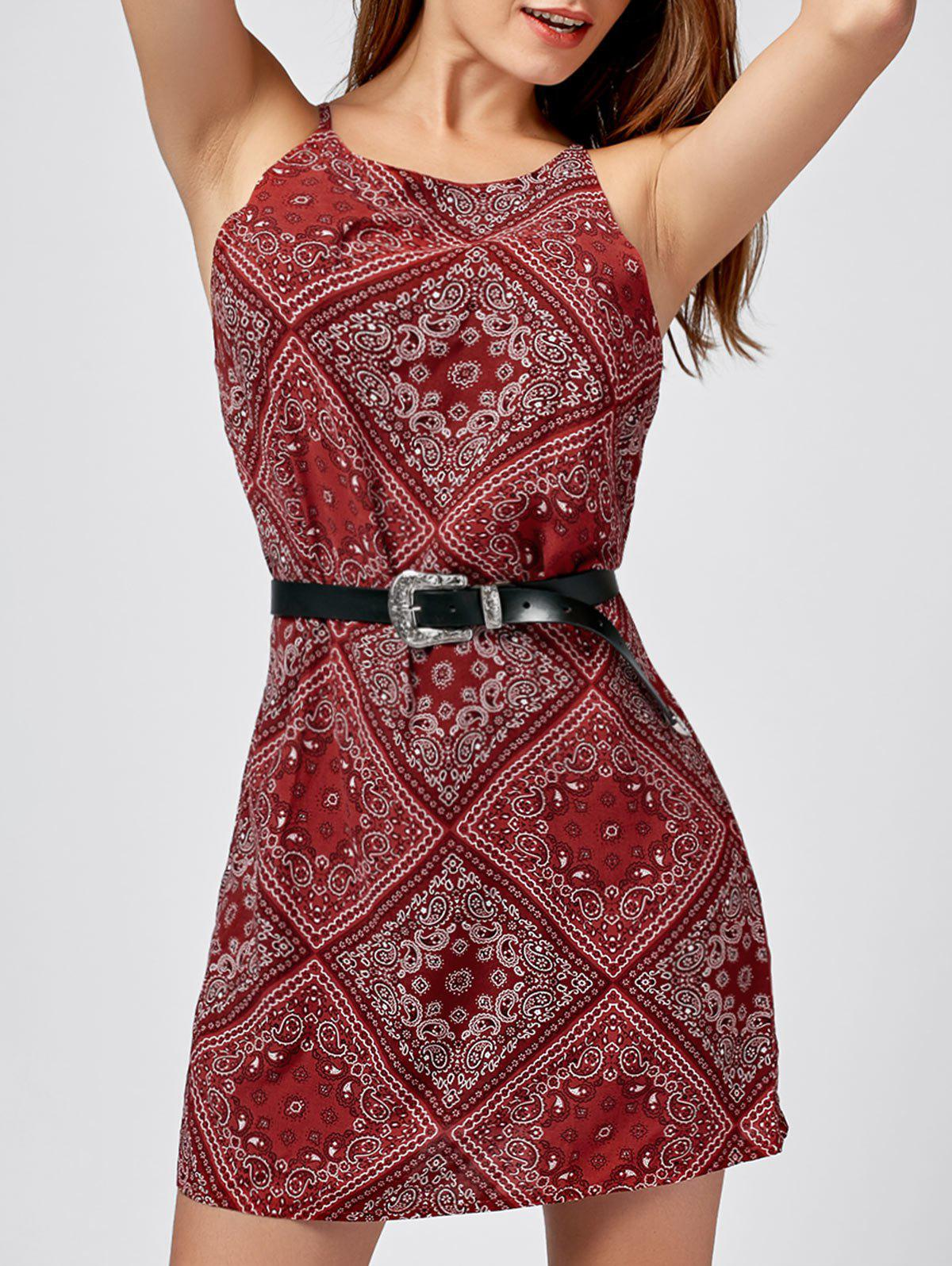 Paisley Print Mini SundressWOMEN<br><br>Size: S; Color: RED; Style: Brief; Material: Polyester,Spandex; Silhouette: Straight; Dresses Length: Mini; Neckline: Spaghetti Strap; Sleeve Length: Sleeveless; Pattern Type: Paisley; With Belt: No; Season: Summer; Weight: 0.1900kg; Package Contents: 1 x Dress;