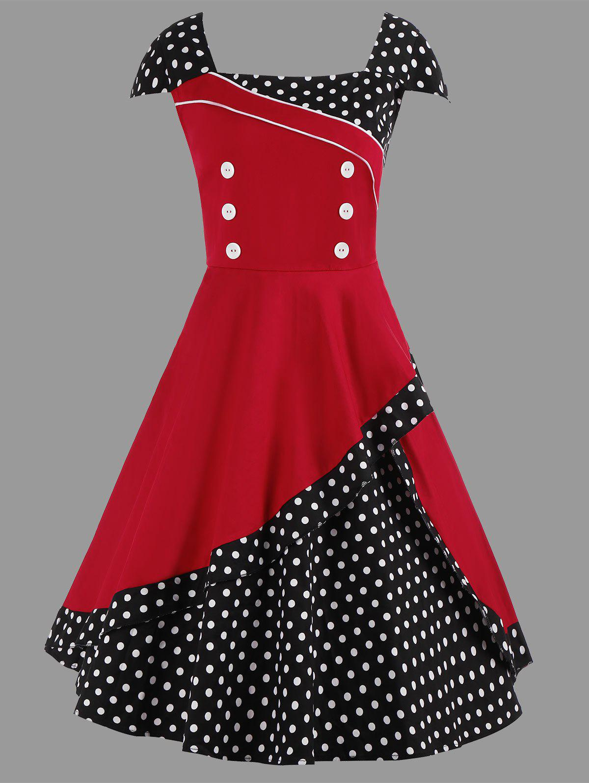 Midi Polka Dot Vintage Plus Size Skater DressWOMEN<br><br>Size: 4XL; Color: RED; Style: Vintage; Material: Polyester; Silhouette: A-Line; Dresses Length: Mid-Calf; Neckline: Square Collar; Sleeve Type: Cap Sleeve; Sleeve Length: Short Sleeves; Pattern Type: Polka Dot; With Belt: No; Season: Summer; Weight: 0.5000kg; Package Contents: 1 x Dress;