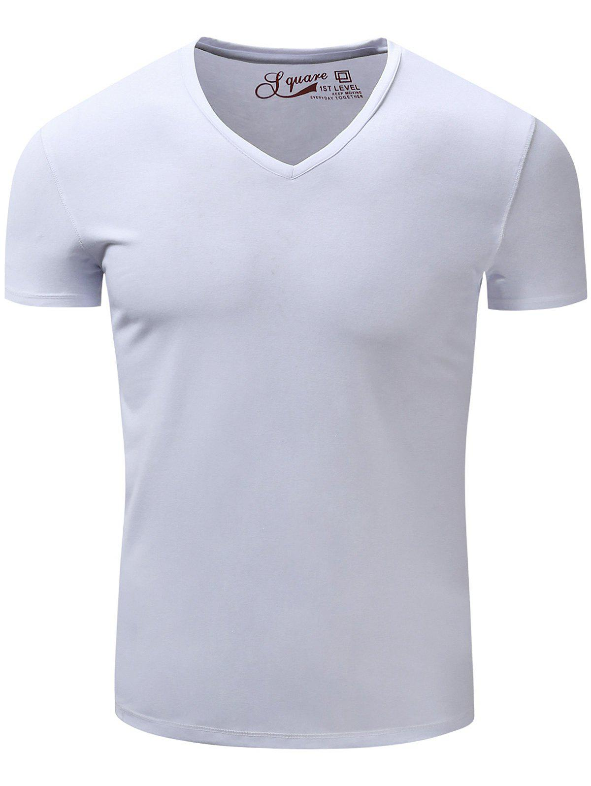 Store V Neck Slimming Short Sleeve T-Shirt