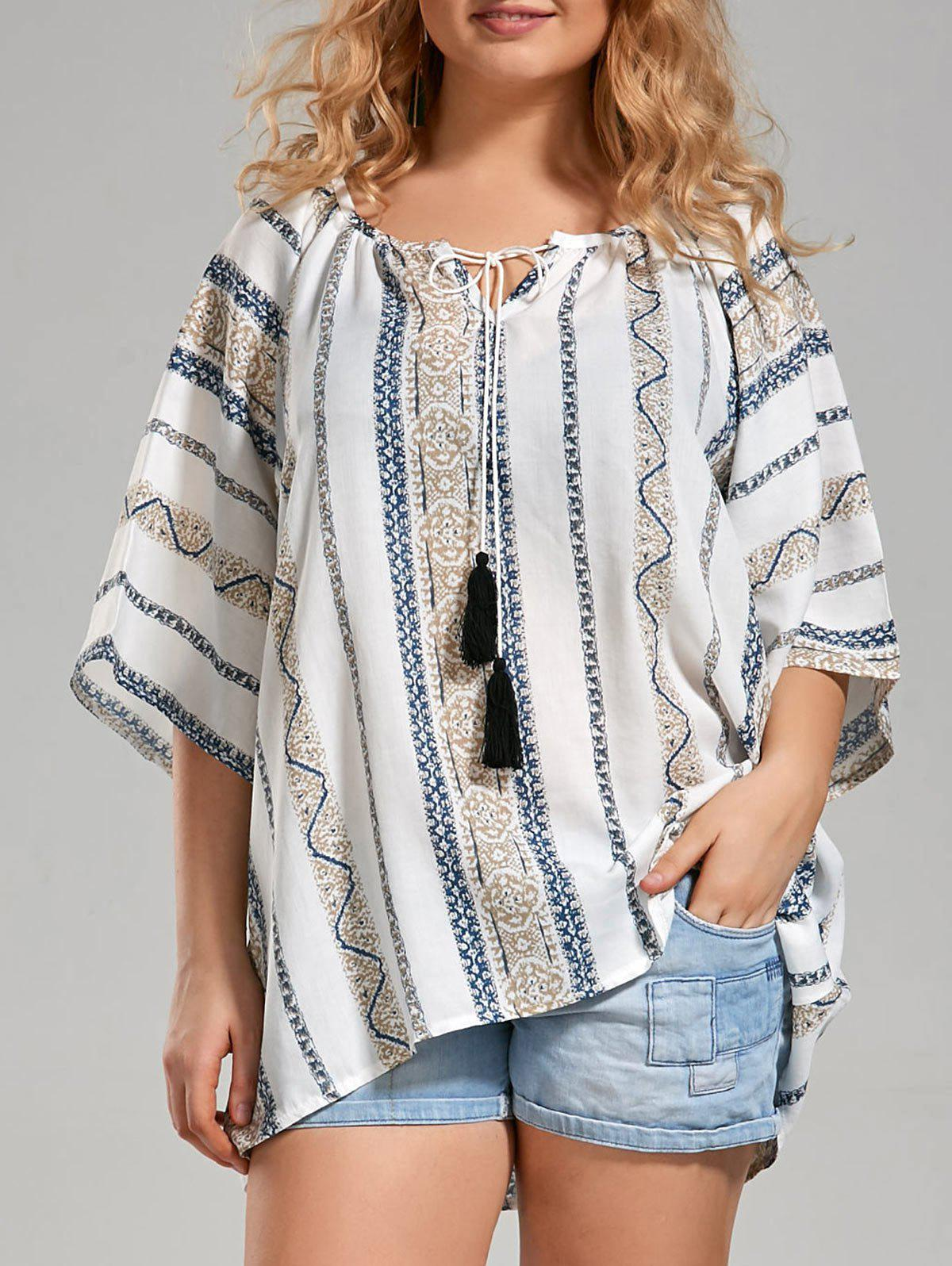 Plus Size Tribal Printed Bohemian Top with TasselWOMEN<br><br>Size: 5XL; Color: WHITE; Material: Cotton,Cotton Blends; Shirt Length: Long; Sleeve Length: Three Quarter; Collar: Scoop Neck; Style: Casual; Season: Spring,Summer; Embellishment: Tassel; Pattern Type: Geometric; Weight: 0.2200kg; Package Contents: 1 x Top;