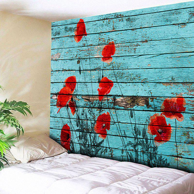 Wall Hanging Wood Grain Flower TapestryHOME<br><br>Size: W91 INCH * L71 INCH; Color: BLUE; Style: Vintage; Material: Cotton,Polyester; Feature: Removable,Washable; Shape/Pattern: Floral,Print; Weight: 0.3950kg; Package Contents: 1 x Tapestry;