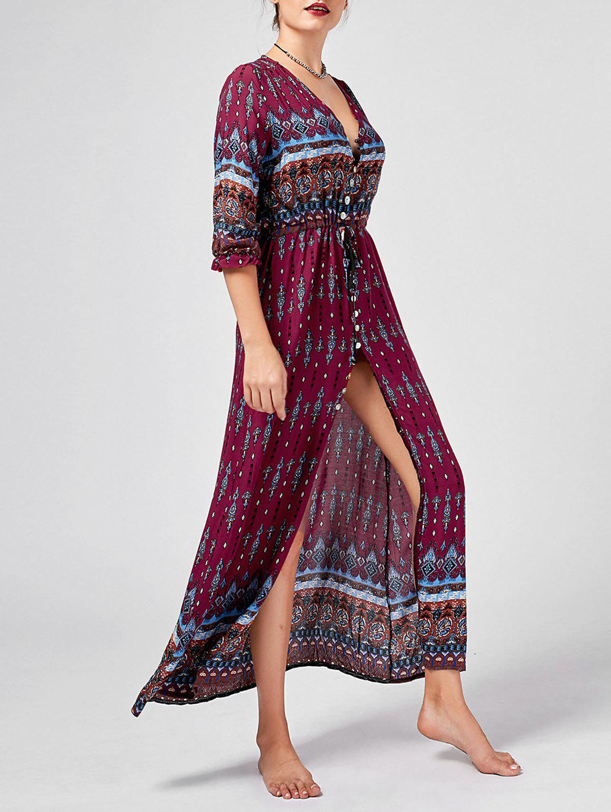 Fashion Tribal Print High Split Bohemian Dress