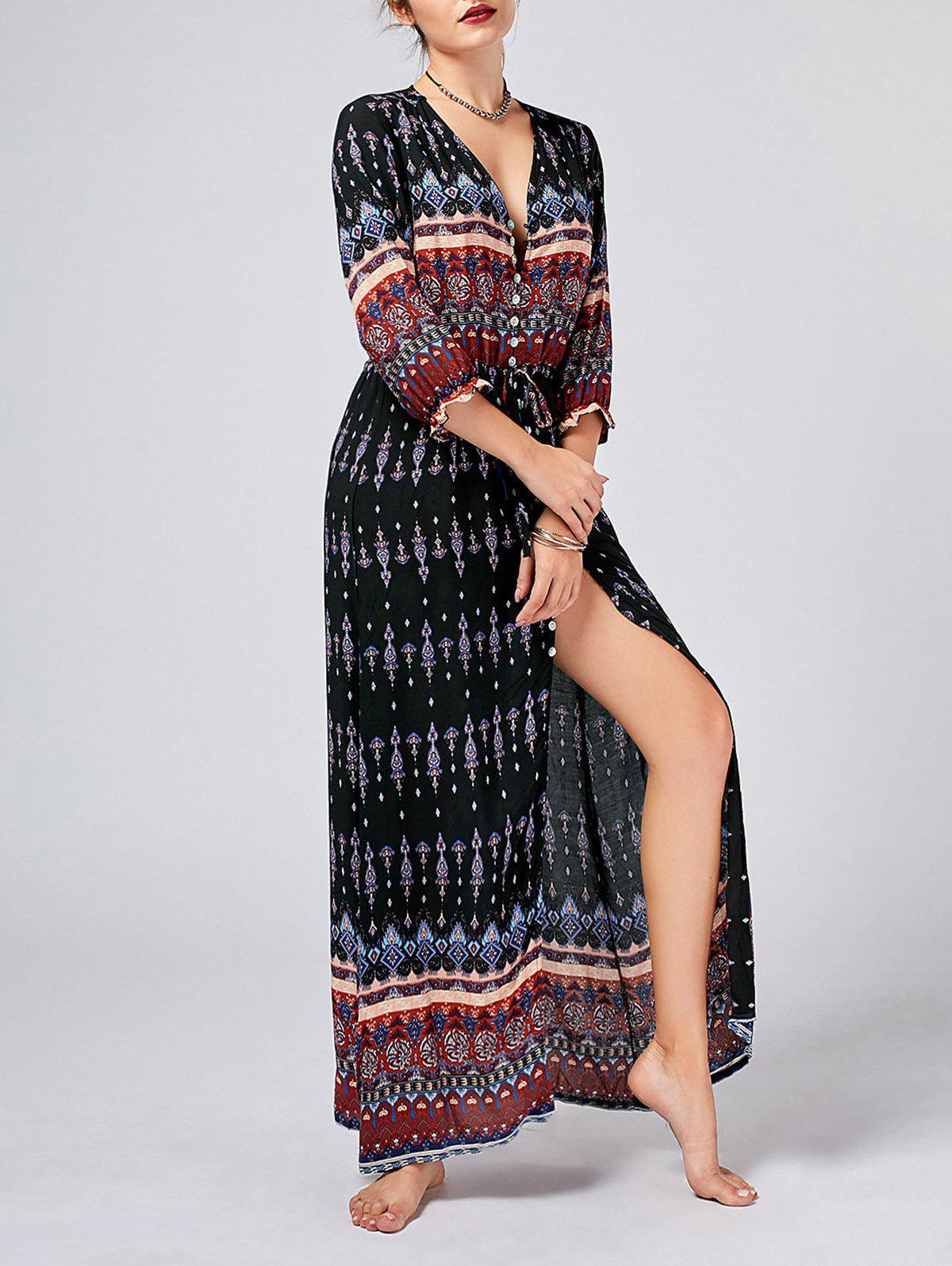 Latest Tribal Print High Split Bohemian Dress