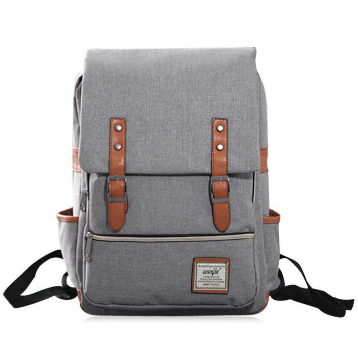 Flap Buckle Straps Canvas BackpackSHOES &amp; BAGS<br><br>Color: GRAY; Handbag Type: Backpack; Style: Casual; Gender: For Women; Pattern Type: Others; Handbag Size: Medium(30-50cm); Closure Type: Zipper; Interior: Interior Zipper Pocket; Occasion: Versatile; Main Material: Canvas; Weight: 1.2000kg; Size(CM)(L*W*H): 30*11*38; Package Contents: 1 x Backpack;