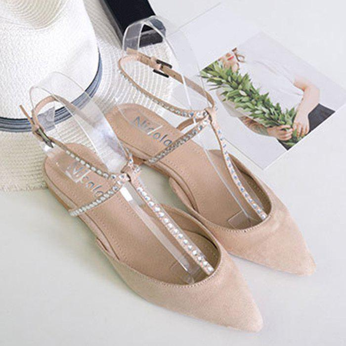 Discount Buckle Strap Beaded Point Toe Flats