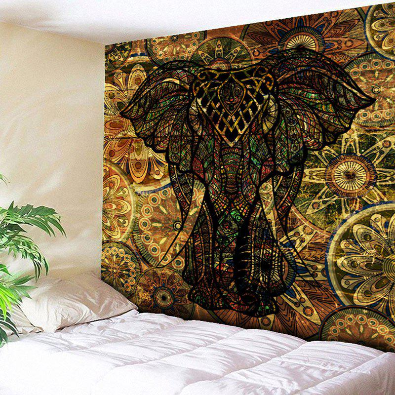 Animal Wall Hanging Vintage Elephant Print TapestryHOME<br><br>Size: W51 INCH * L59 INCH; Color: DEEP BROWN; Style: Vintage; Theme: Animals; Material: Cotton,Polyester; Feature: Removable,Washable; Shape/Pattern: Elephant,Floral,Print; Weight: 0.1800kg; Package Contents: 1 x Tapestry;