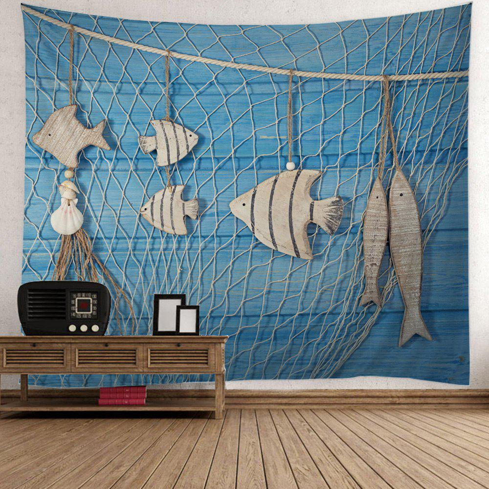 Fancy Fishing Net Wood Grain Fish Print Wall Tapestry