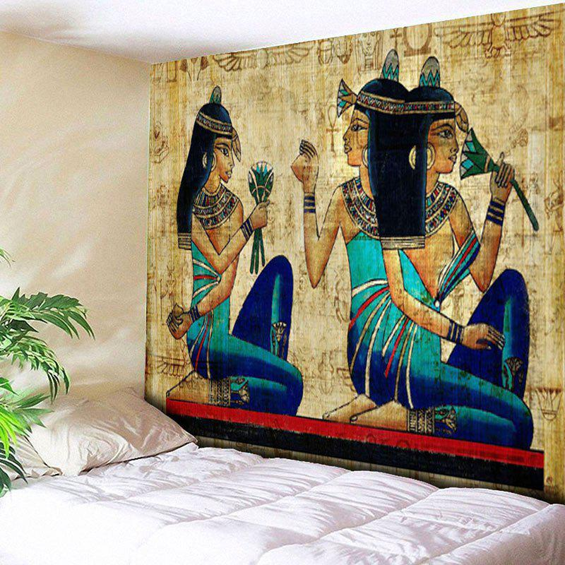 Wall Hanging Egyptian Mural Printed TapestryHOME<br><br>Size: W91 INCH * L71 INCH; Color: YELLOW; Style: Vintage; Theme: People; Material: Cotton,Polyester; Feature: Removable,Washable; Shape/Pattern: Print; Weight: 0.3950kg; Package Contents: 1 x Tapestry;