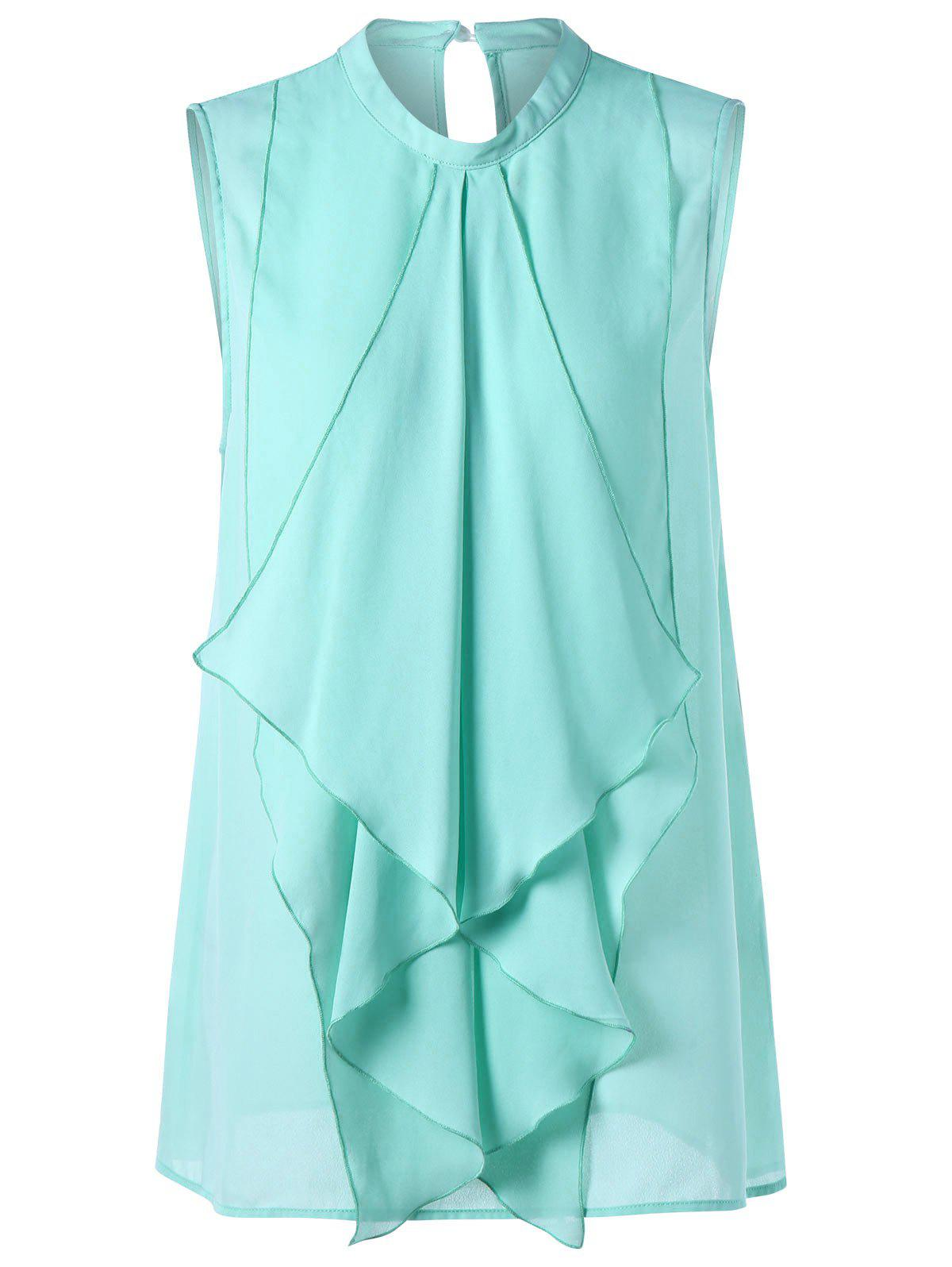Waterfall Ruffle Plus Size Chiffon Tank TopWOMEN<br><br>Size: 3XL; Color: LIGHT GREEN; Material: Polyester; Shirt Length: Regular; Sleeve Length: Sleeveless; Collar: Mock Neck; Style: Fashion; Season: Summer; Pattern Type: Solid; Weight: 0.2500kg; Package Contents: 1 x Top;