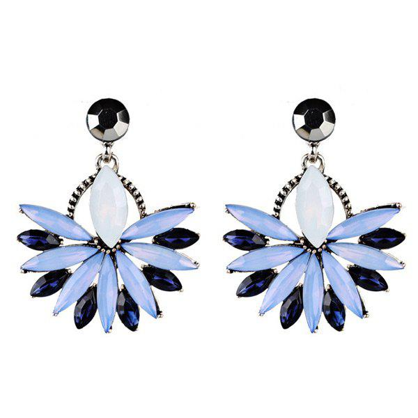 Rhinestone Floral Statement Drop EarringsJEWELRY<br><br>Color: BLUE; Earring Type: Drop Earrings; Gender: For Women; Material: Rhinestone; Style: Trendy; Shape/Pattern: Floral; Length: 4CM; Weight: 0.0300kg; Package Contents: 1 x Earring (Pair);