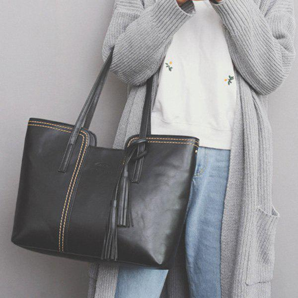 Store Faux Leather Tassel Shoulder Bag