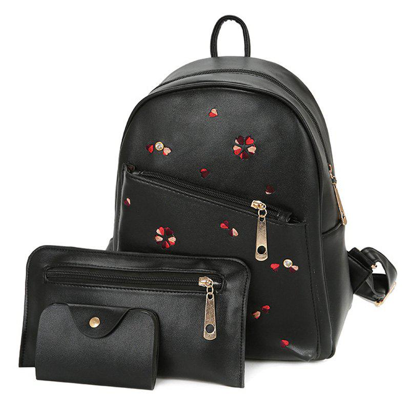 Sale PU Leather Heart Embroidered Backpack Set
