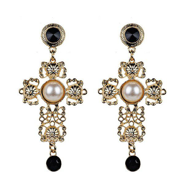 New Faux Pearl Cross Filigree Drop Earrings