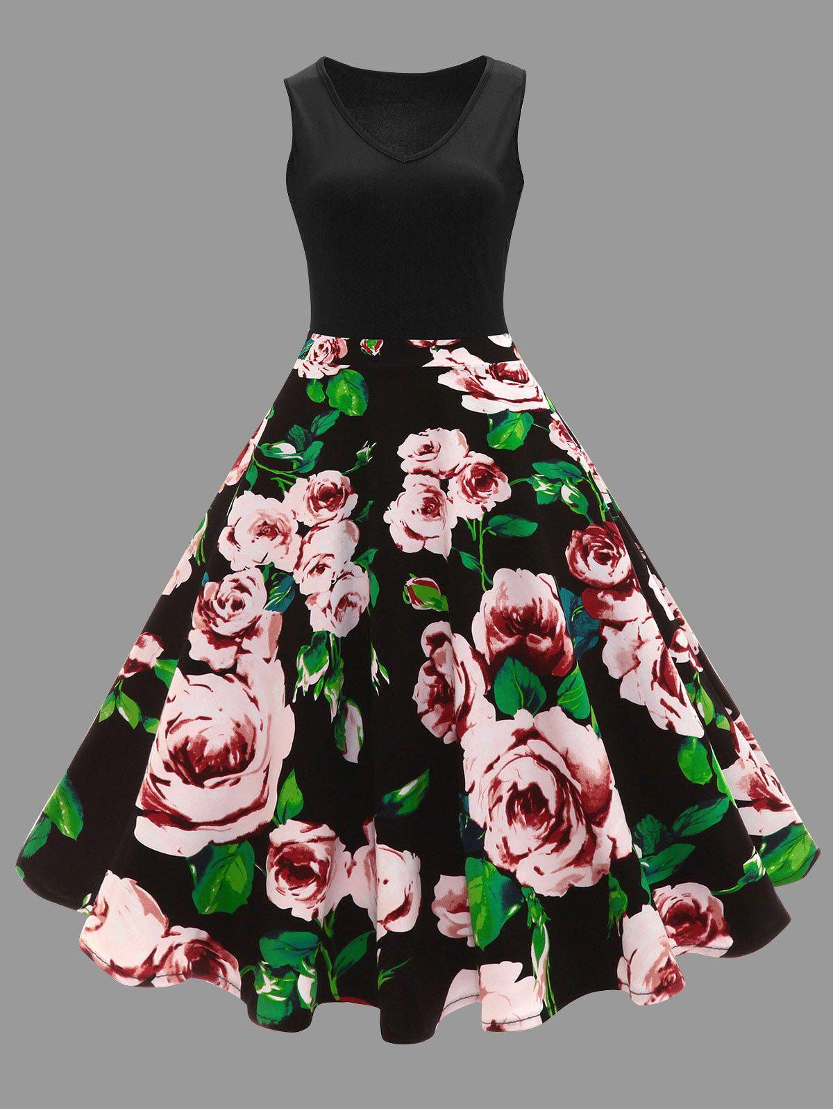 Plus Size Floral Printed Vintage Midi Flare DressWOMEN<br><br>Size: 2XL; Color: BLACK; Style: Vintage; Material: Cotton,Cotton Blend,Polyester; Silhouette: Ball Gown; Dresses Length: Mid-Calf; Neckline: V-Neck; Sleeve Length: Sleeveless; Waist: High Waisted; Embellishment: Vintage; Pattern Type: Floral,Print; With Belt: No; Season: Spring,Summer; Weight: 0.3500kg; Package Contents: 1 x Dress;
