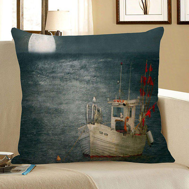Moon Sailboat Sea Print Decorative Pillow CaseHOME<br><br>Size: 45*45CM; Color: BLUE GRAY; Material: Polyester / Cotton; Pattern: Printed; Style: Modern/Contemporary; Shape: Square; Weight: 0.0900kg; Package Contents: 1 x Pillow Case;