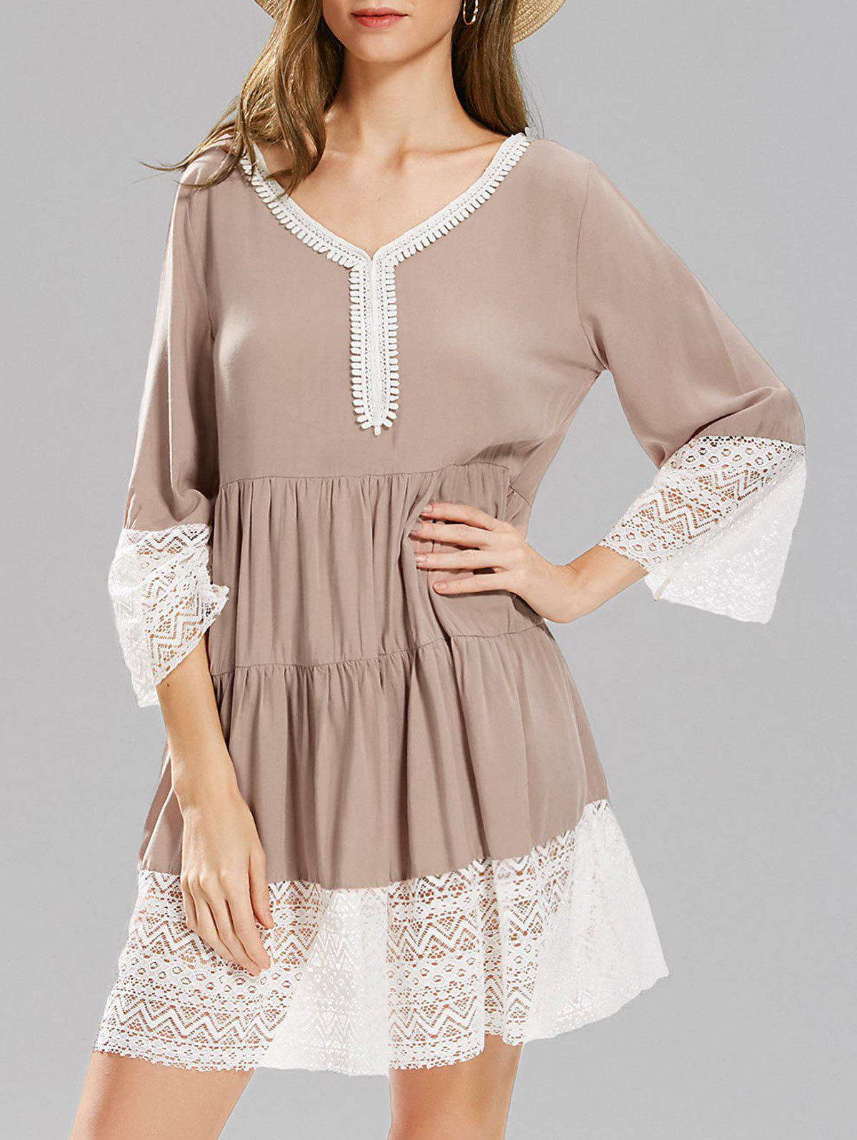 Outfit Long Sleeve Lace Panel Smock Dress