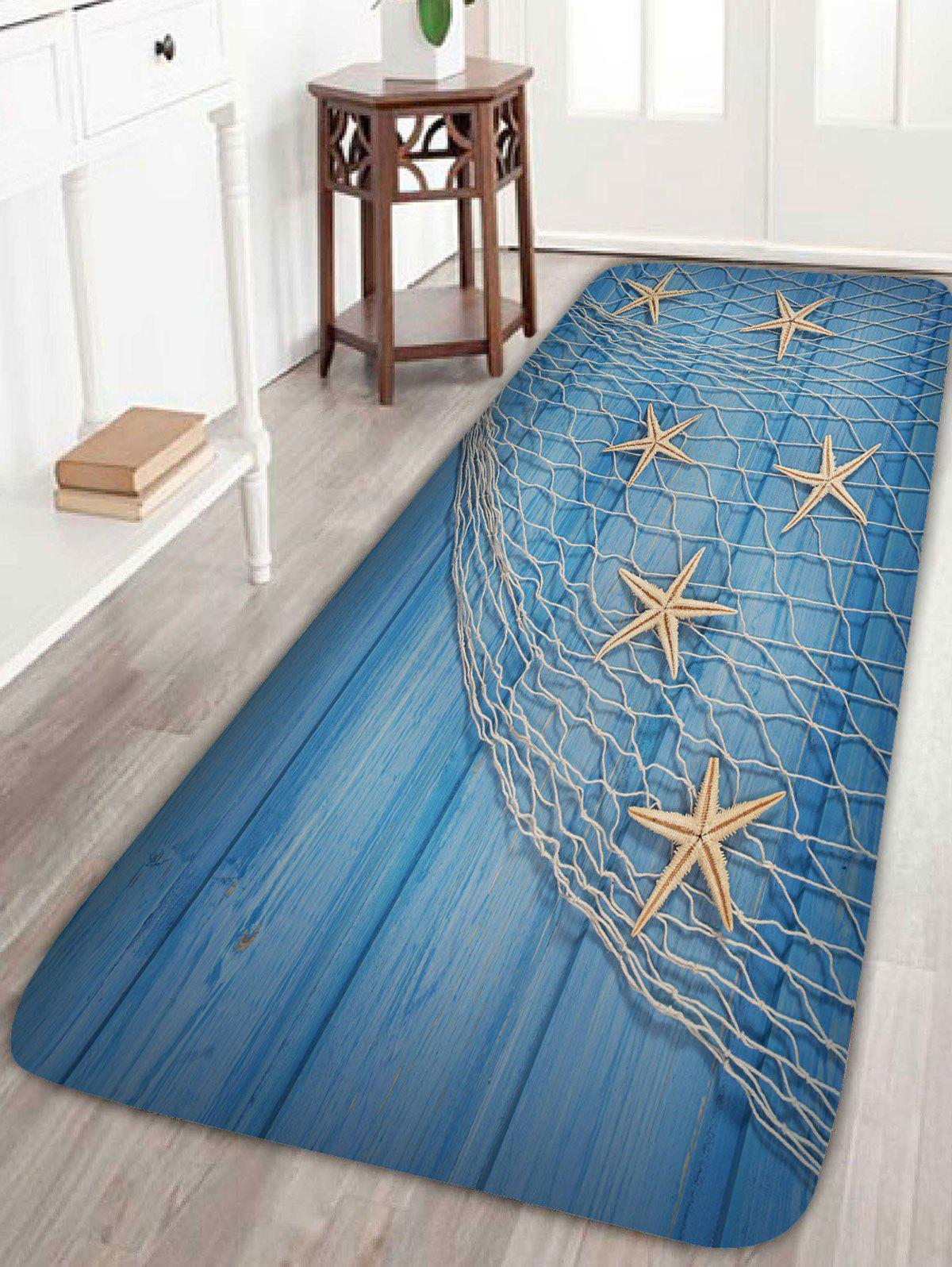 Starfish Fishing Net Wood Grain Bath RugHOME<br><br>Size: W16 INCH * L47 INCH; Color: LIGHT BLUE; Products Type: Bath rugs; Materials: Coral FLeece; Pattern: Print; Style: Beach Style; Shape: Rectangle; Package Contents: 1 x Rug;