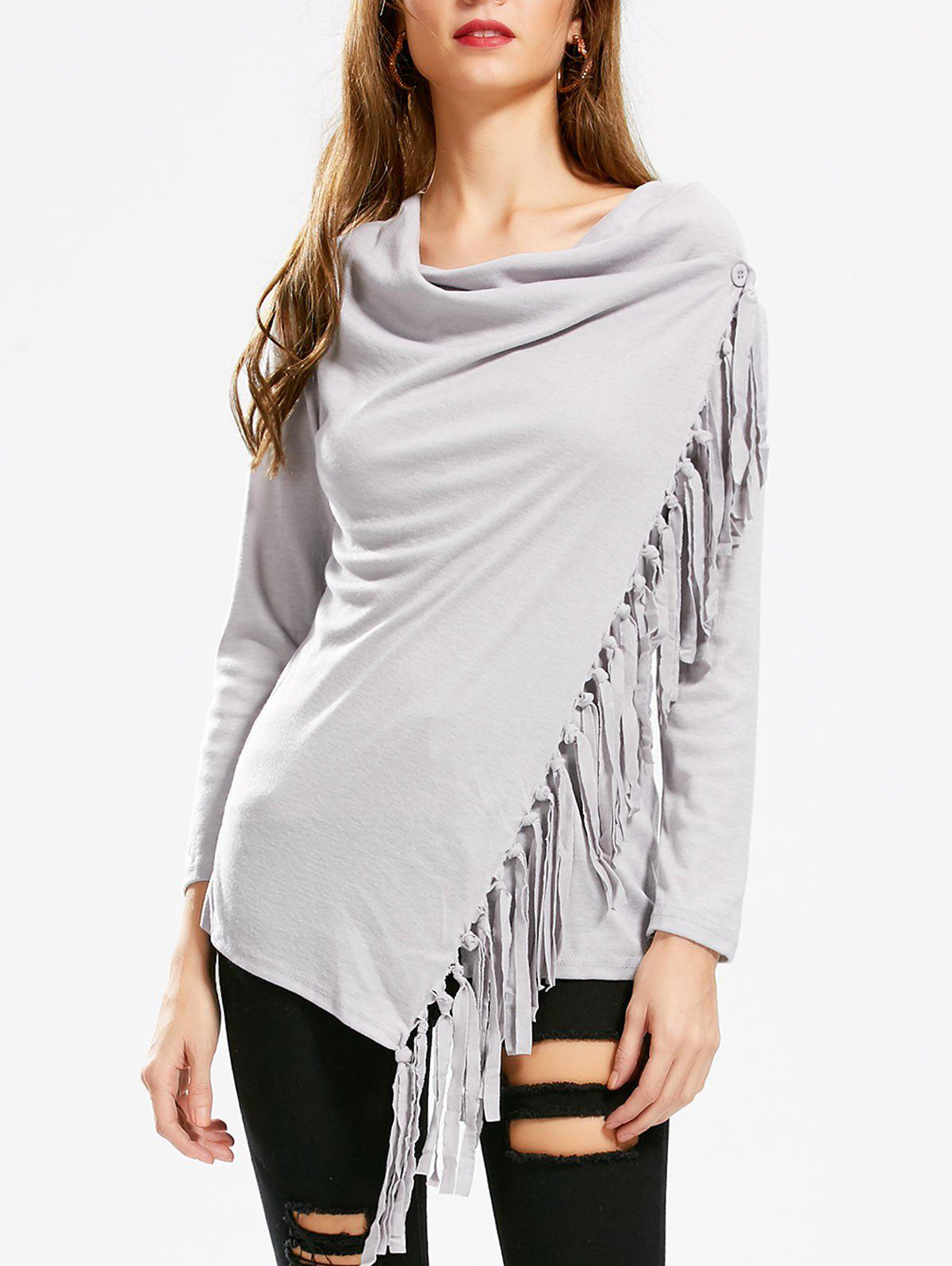 Tassel Asymmetric Long Sleeve TopWOMEN<br><br>Size: XL; Color: GRAY; Material: Polyester; Sleeve Length: Full; Collar: Cowl Neck; Style: Fashion; Embellishment: Tassel; Pattern Type: Solid; Weight: 0.3300kg; Package Contents: 1 x T-Shirt;