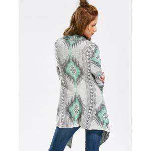 Casual Geometric Printed Long Sleeve Asymmetric Cardigan For Women - GREEN L