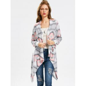 Casual Geometric Printed Long Sleeve Asymmetric Cardigan For Women -