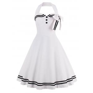 Stripe Panel Halter A Line Vintage Dress