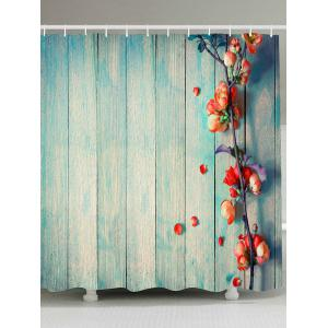Vintage Waterproof Wood Grain Floral Shower Curtain - Light Blue - W79 Inch * L79 Inch