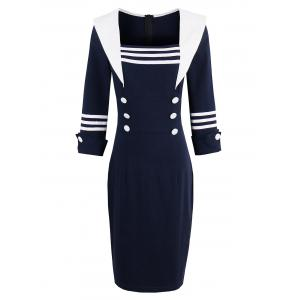 Square Collar Sheath Tight Dress with Sleeves